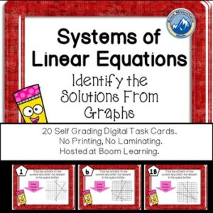 Systems of linear equations boom cards.